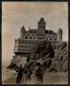 the Cliff House - San Francisco    This is an image of Adolph Sutro's Cliff House, which was located outside San Francisco. It stood for eleven years, from 1896-1907, before being destroyed by fire.