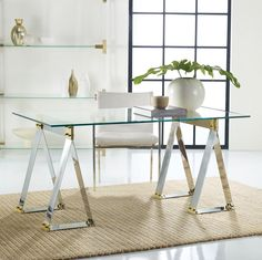 Brendell Metal Desk home office desk, glass table, gold and silver desk, mixed metal