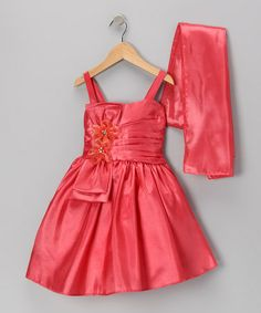 Take a look at this Coral Flower Satin Dress & Shawl - Toddler & Girls by Cinderella Couture on #zulily today!