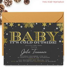 Baby shower, baby its cold outside, winter baby shower invitation, glitter gold, invitation, gender neutral, little boy, girl