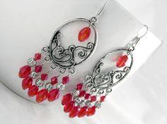 Bergamot Earrings $14.00  - Ladies beaded chandelier earrings. Swarovski crystal, Tibet silver on silver plated wire.