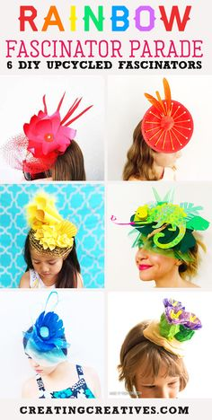 How to Make a Fascinator from Recycled Artwork - Creating Creatives Crazy Hat Day, Crazy Hats, Silly Hats, Fancy Hats, Diy For Kids, Crafts For Kids, How To Make Fascinators, Diy Party Hats, Mad Hatter Hats