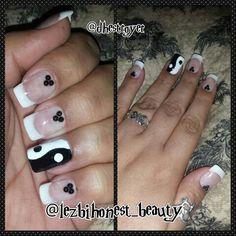 #yingyang #black #white #fingerpaints  in #papermache  #blackheart  in black #good #bad #balance #karma #nailart  #nailaddict  #shortnails  #nails #polish  #myart  #myworld  #mylife  #ilovewhatido