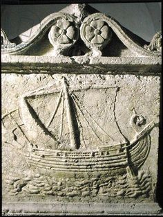Detail of the Ship Sarcophagus, from Sidon, Phoenician, ships of Tarshish; for the king (Solomon) had a fleet of ships from Tashish bateau phenicien; bateau de Tarse; Tarshish is probably Tarsus, a large commercial city on the Cydnus River in southeastern Asia Minor (modern Turkey); Levantine coast; Musee National, Beirut, Lebanon