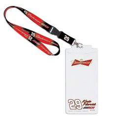 """NASCAR Kevin Harvick Credential Holder Lanyard by WinCraft. $10.95. Kevin Harvick Credential Holder LanyardOfficially licensed NASCAR productHangs 20"""" in length (including keyring)Lobster claw clipPlastic sleeve measures 8.5"""" x 4.25""""Woven graphicsImportedScreen print graphicsHangs 20"""" in length (including keyring)Woven graphicsPlastic sleeve measures 8.5"""" x 4.25""""Screen print graphicsLobster claw clipImportedOfficially licensed NASCAR product"""
