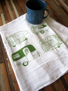 Tea Towel - Screen Printed Organic Cotton Flour Sack Towel - Soft and Absorbent Kitchen Towel - Vintage Campers - Camping on Etsy, $10.00