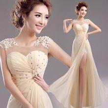 custom Hot sales 2015 new!Flowers backless chiffon bridesmaid dresses take host dress toast  TS12330Q-198(China (Mainland))