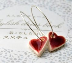 Shiny Hearts Earrings - Sterling Silver Hoops, Porcelain Clay Red Hearts