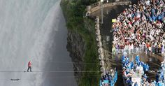 Nik Wallenda approaching finish line. Click to see this photo BIG + more GREAT pics. Can't believe he did this!