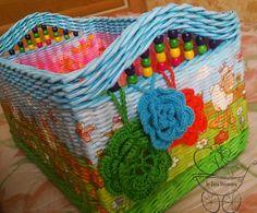 Плетение из газетных трубочек. Короб для хранения игрушек в детскую.