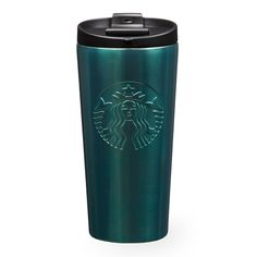 An insulating stainless steel tumbler with an embossed Siren logo and a shiny aqua sheen.