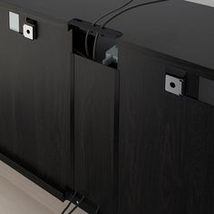 BESTÅ TV storage combination/glass doors - black-brown, Selsviken high gloss/beige clear glass - IKEA