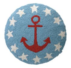 Anchor & Stars Round Hook Pillow. Red, blue and white.