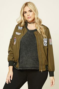 Forever 21+ - A bomber jacket featuring a zip-up front, contrast ribbed trim, two front slanted pockets, and various patches in different designs.