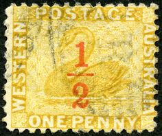 Western Australia  1884 Scott 55 ½d on 1d ocher yellow Perf 12, Surcharged in Red