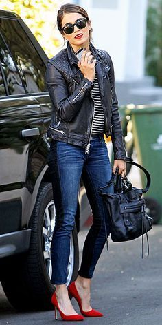 Love this effortless causal rocker look from Nikki Reed!