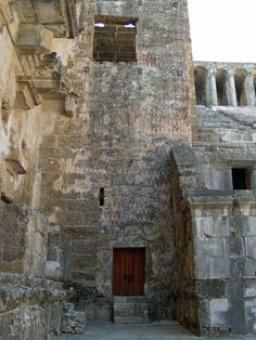 Roman theatre of Aspendos, Turkey. Painted tower at the end of the skene