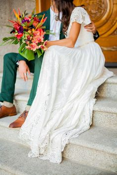 modest wedding dress with flutter sleeves from alta moda. -- (modest bridal gown)