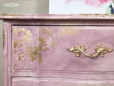 Annie Sloan Gold Size and Chalk Paint® was used in this inspired watercolor and gilding furniture technique by Annie Sloan Stockist Originally Worn in Macon, MO.