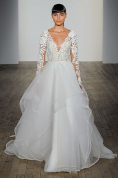 Blush By Hayley Paige Spring 2019 Bridal Collection: Wedding Dress With A Full Skirt And Floral Appliquéd Long-sleeve Bodice Minimal Wedding Dress, Plain Wedding Dress, Wedding Dress Trends, Long Sleeve Wedding, Bridal Wedding Dresses, Bridal Style, Wedding Skirt, Blush By Hayley Paige, Hailey Paige Bridal
