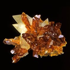 Orpiment with Calcite.  The collection of minerals | Live from the Labs of UPMC