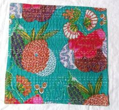 FRUIT PRINT HANDMADE KANTHA QUILT THROW CUSHION COVERS  CASE FOR DECORATIVE IND #Handmade