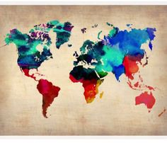 The World Watercolor Map I by Naxart Canvas Print creates visual interest on any wall. This canvas art piece features a beautiful watercolor. Art Encadrée, Art Mural, Wall Art, Art Fr, Wall Decor, Canvas Art, Canvas Prints, Art Prints, Canvas Size