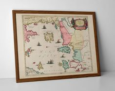 Old Map of Aegean Sea, originally created by Willem Janszoon Blaeu, now available as a 'museum quality' vintique wall decoration print. Old World Maps, Vintage World Maps, St Margaret, Historical Maps, Travel Posters, Giclee Print, Scotland, Mykonos, Santorini