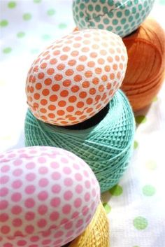 "Fabric covered Easter Eggs...styrofoam, fabric, mod podge, crochet cotton (for making chains to glue one to hide the ""seams""..."