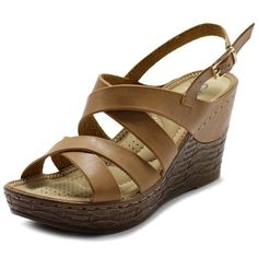 "Ollio Women's Shoe Cross Strap Platform Wedge Heel Sandal (8.5 B(M) US, Camel). Manmade Material. Synthetic. Cushioned Comfort Insole. Heel Height: 2.5"". Origin: Made in China."