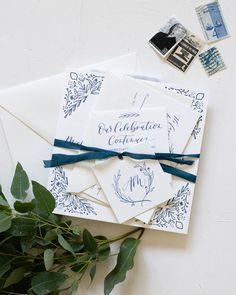 Navy and White Illustrated Floral Wedding Invitations