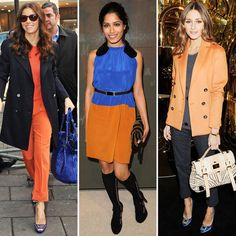 Celebs Work the Orange and Blue Combo : Celebs have taken to the bright orange-blue duo, too. For quick styling ideas, just look to Jessica Biel, Freida Pinto, and Olivia Palermo. Jessica donned an all-orange outfit, pairing a blue bag and blue heels as a cool contrast. Freida rocked a svelte Marni for H orange-and-blue frock at the brand collaboration's Los Angeles launch party, while Olivia Palermo looked superchic in an orange coat and embellished blue heels.