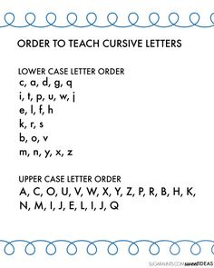 cursive letter order handout for teacher, Occupational therapy, and parent education.