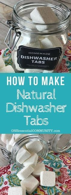 easy-to-make homemade natural dishwasher detergent tabs and they REALLY WORK! Cleans stuck-on food, gets silverware shiny, & glasses sparkling! DIY essential oil recipe for dishwasher detergent tabs