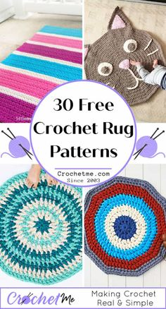 30 Free Crochet Rug Patterns for Beginners - Crochet Me Diy Crochet Rug, Crochet Carpet, Crochet Rug Patterns, Crochet Round, Crochet Stitches, Easy Crochet, Dishcloth Crochet, Crochet Blankets, Crochet Doilies