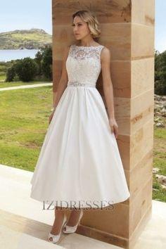 Ball Gown Bateau Satin Wedding Dress - IZIDRESSES.com at IZIDRESSES.com