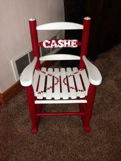 Kids baseball chair Painting Kids Furniture, Painted Furniture, Diy Furniture, Futon Chair Bed, Diy Chair, Baseball Chair, Baby Boy Rooms, Baby Boys, Painted Rocking Chairs