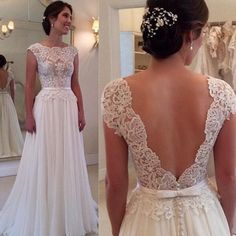 Romantic Wedding Dresses 2015 with Short Sleeve V-Backless Open Back Floor-length Lace Appliques Sashes Cheap Bridal Dress Party Gowns SX229 Online with $109.95/Piece on Queenwedding's Store | DHgate.com