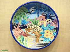 Charger with tiger Enamels from Longwy, signed by Rizzi, Nr 54/60, 15 in. diam. c. 1944