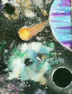 Art and science nebula galaxy 8th grade Lowell Middle School Art Ed Central Wooley