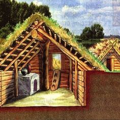 View inside an ancient Russian home during the 10th century. Dugout shelters are perfect for staying cool in the summer and warm in the winter with a fireplace and chimney. The window is also the door. You could even plant a small garden on the roof. #Survival #Bushcraft #Shelter #ShelterDesigns #SurvivalShelter #DugoutShelter