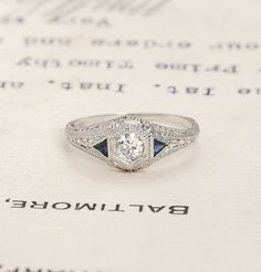 Art Deco Diamond and Sapphire Filigree Engagement Ring, $1,600.00