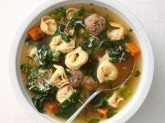 meatball tortellini soup ~ absolutely delicious! ~ 474 satisfying calories ~ easy--kids loved too ~ DOUBLE the recipe ~ added a smidge of cayenne to meatballs and used chicken stock instead of broth.  Buitoni tortellini pack is perfect ~ food network mag cover recipe jan/feb 2014