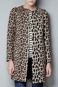 Zara Collarless Leopard Print Coat