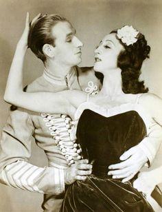 Ballet Russe de Monte Carlo dancers Alexandra Danilova and Frederic Franklin in Leonide Massine's Le Beau Danube.