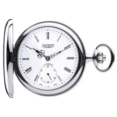 Jean Pierre Of Switzerland Chrome Plated Mechanical Half Hunter Pocket Watch. Now available at www.pocketwatch.co.uk #pocketwatch #timepiece