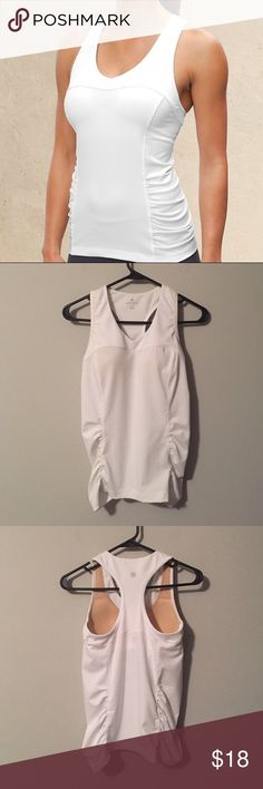 Athleta Athleta Bra Cup Vee Neck Tank, size 34A, perfect condition with no flaws. Moisture wicking stretchy fabric, sized to fit you perfectly, built in bra cups, breathable, hugged sensation, white, like new. Bundle to save 💕 Athleta Tops Tank Tops