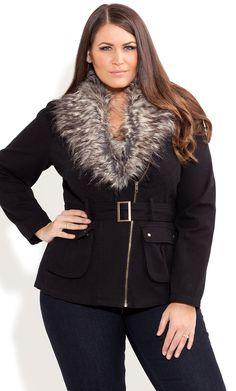 City Chic - FUR TRIM UTILITY JACKET -  Women's plus size clothing