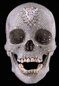 "Skulls: ""For the Love of God,"" by Damien Hirst. Most Expensive Piece of Art Ever Made: Diamond-Covered Human #Skull. $98,000,000."