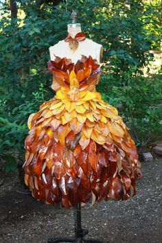 stunning (non wearable) dress made of real leaves!